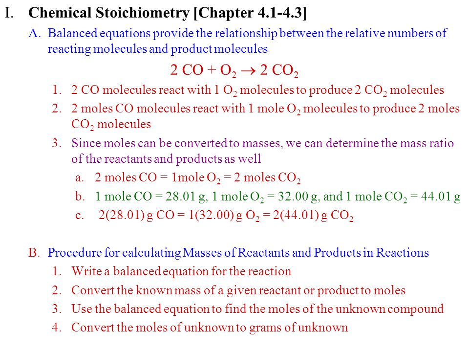 I. Chemical Stoichiometry [Chapter 4.1-4.3]